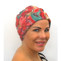 Red Graffiti Turban Headwear